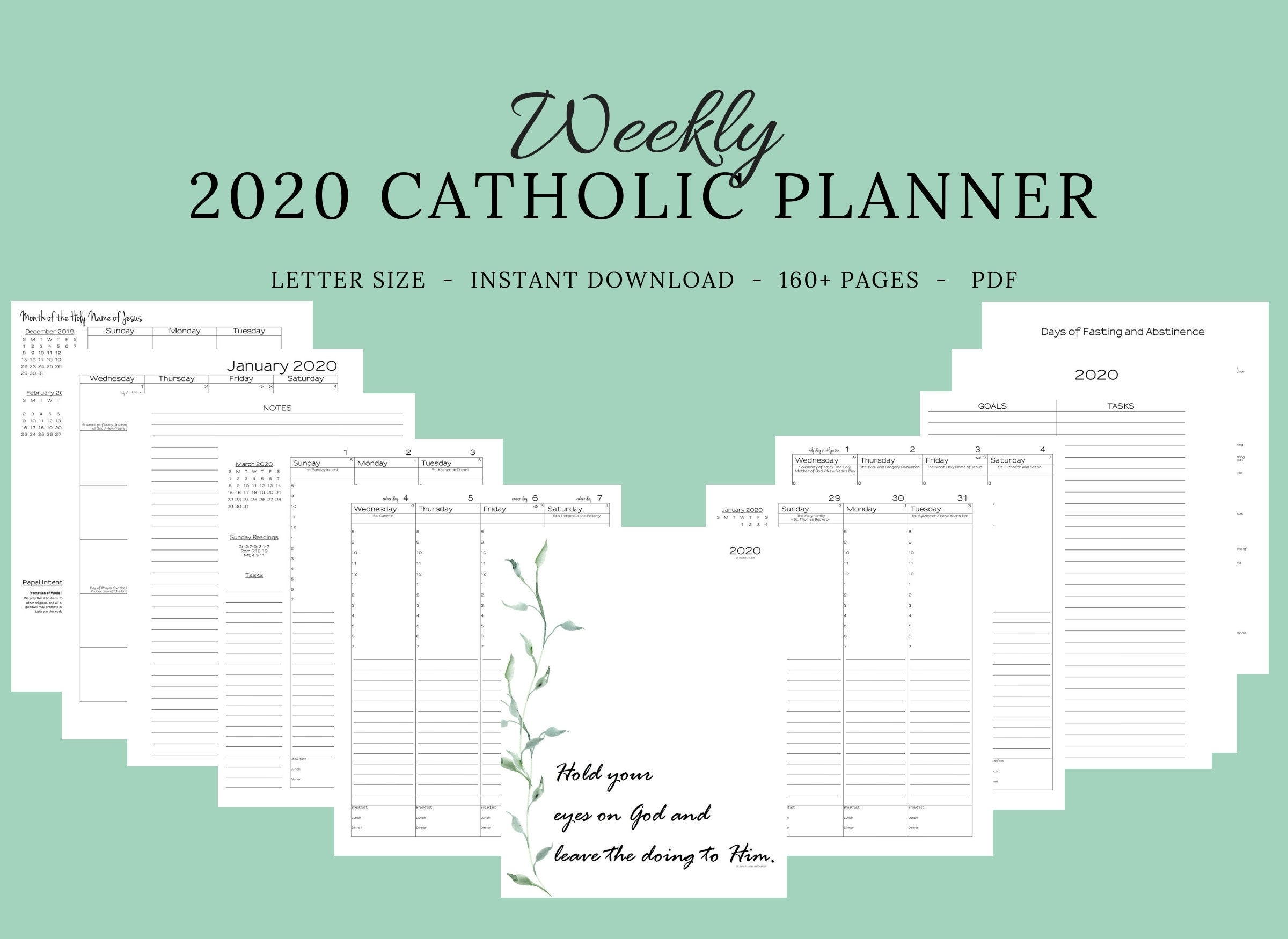 2020 Catholic Planner Weekly Printable: Daily Planner / | Etsy pertaining to Catholic Liturgical Calendar 2020 Printable