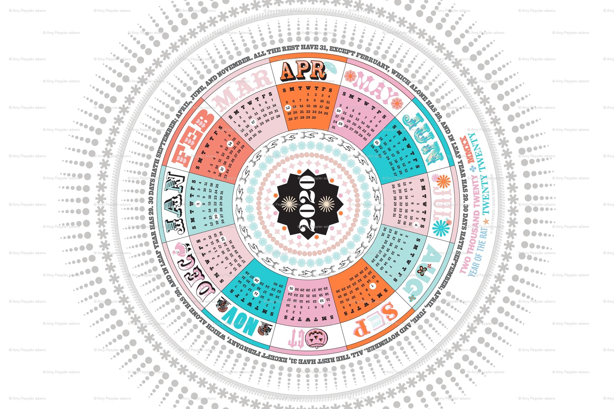 2020 Circle Tea Towel Calendar*    Circular Mayan Holidays Numbers regarding Mayan Calendar 2020