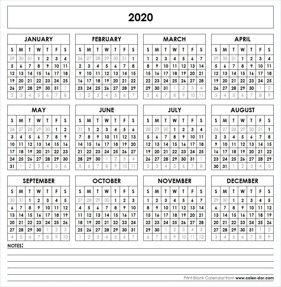 2020 Printable Calendar | Yearly Calendar | Printable Calendar regarding Year Calendar 2020 With Space To Write