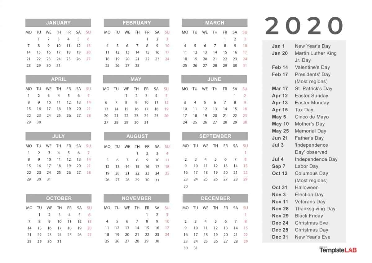 2020 Printable Calendars [Monthly, With Holidays, Yearly] ᐅ inside 2020 Quarterly Calendar Printable Free