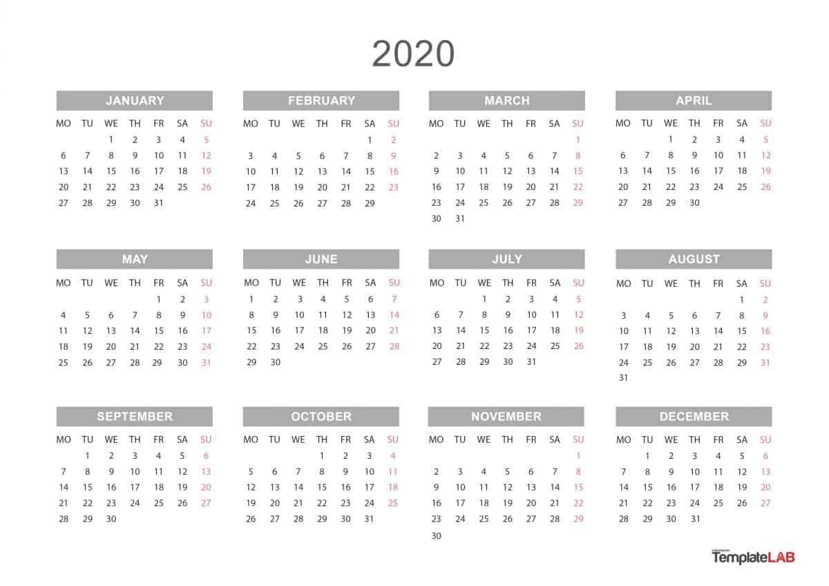2020 Printable Calendars [Monthly, With Holidays, Yearly] ᐅ inside Calendar 2020 Year At A Glance Free Printable