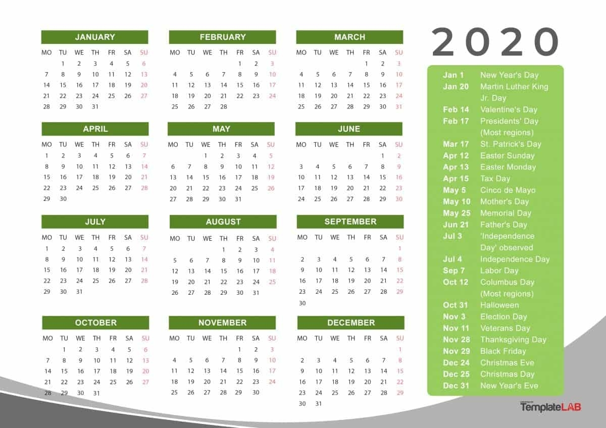 2020 Printable Calendars [Monthly, With Holidays, Yearly] ᐅ regarding Calendar 2020 Year At A Glance Free Printable