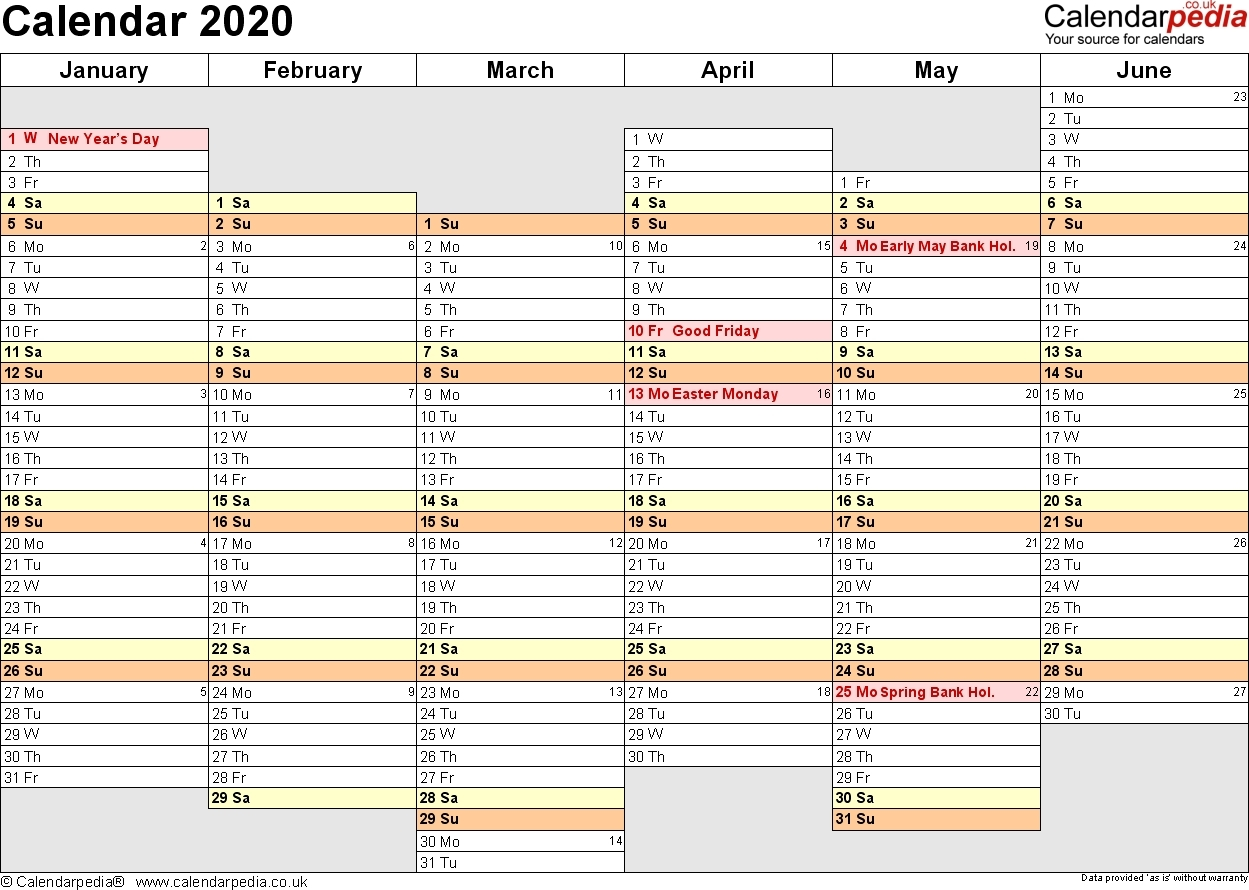 2020 Year At A Glance Basic Word | Template Calendar Printable throughout 2020 Year At A Glance Basic Word