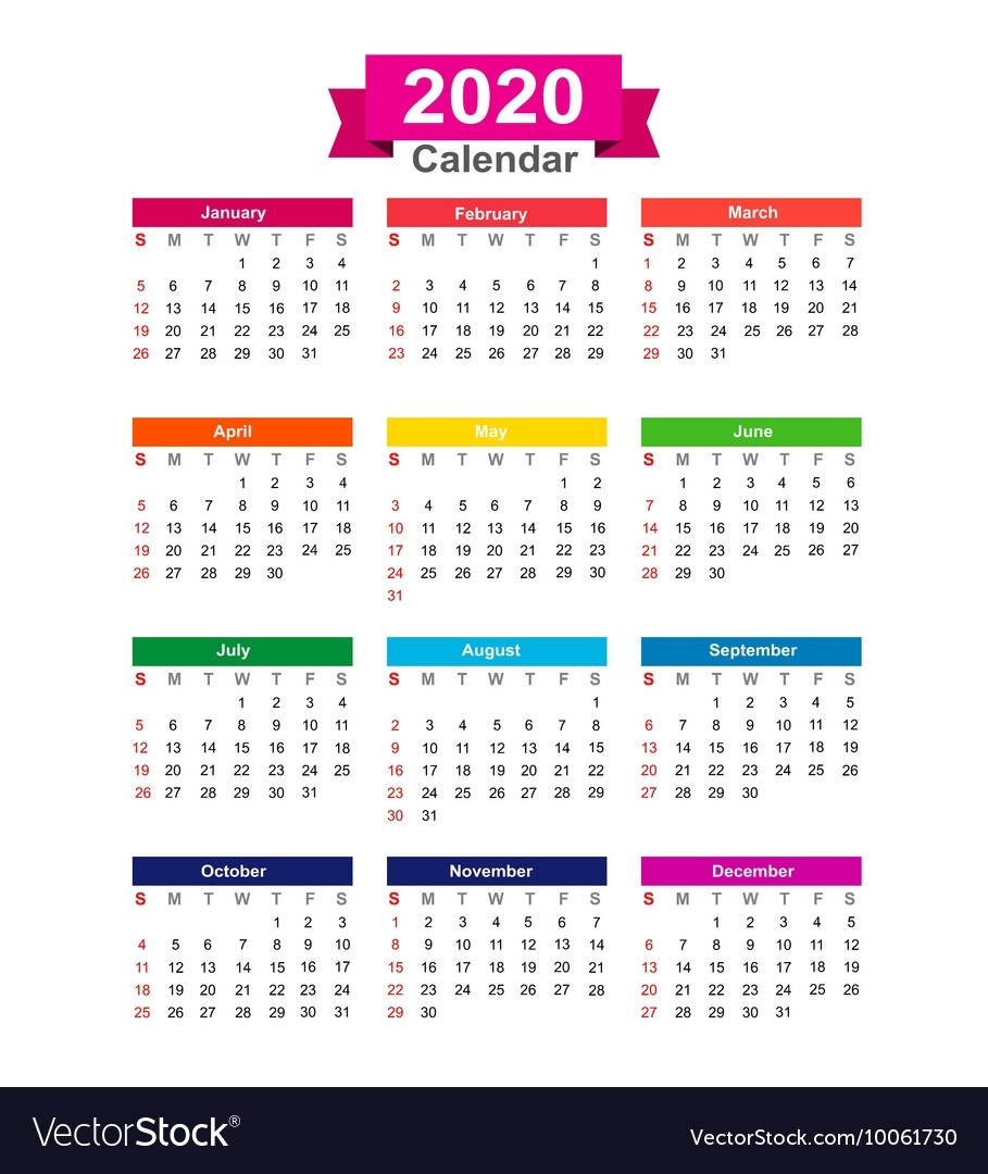 2020 Year Calendar Isolated On White Background Vector Image pertaining to 2020 Calendar