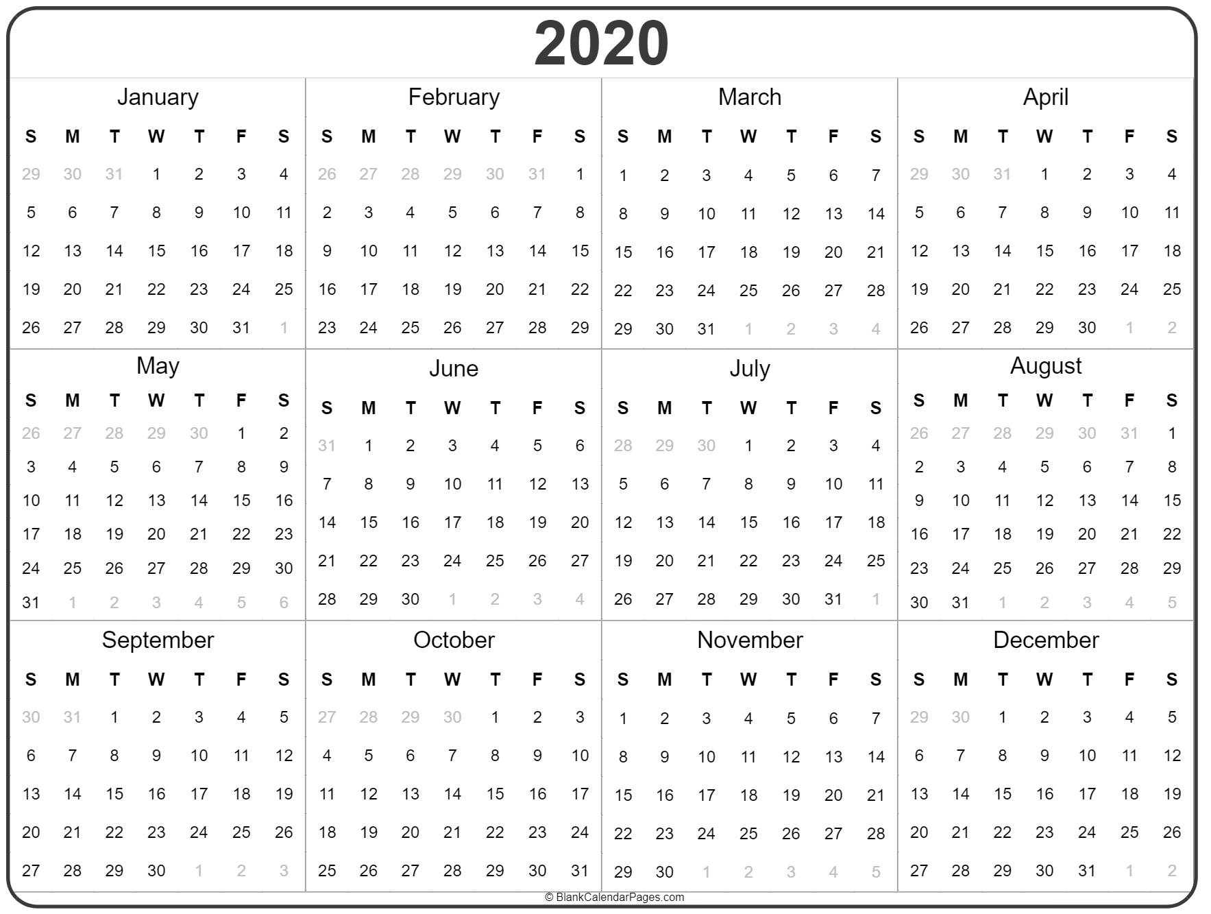 2020 Year Calendar   Yearly Printable in 10 Years Calendar From 2020