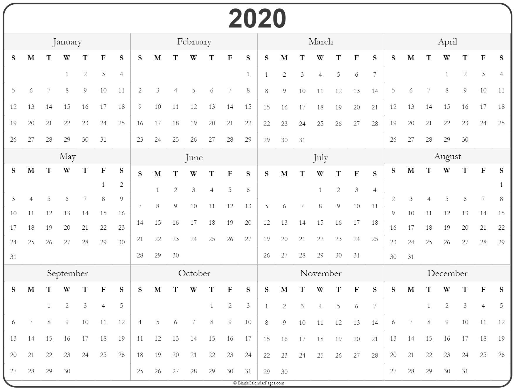 2020 Year Calendar | Yearly Printable pertaining to 2020 Annual Calendar Blank