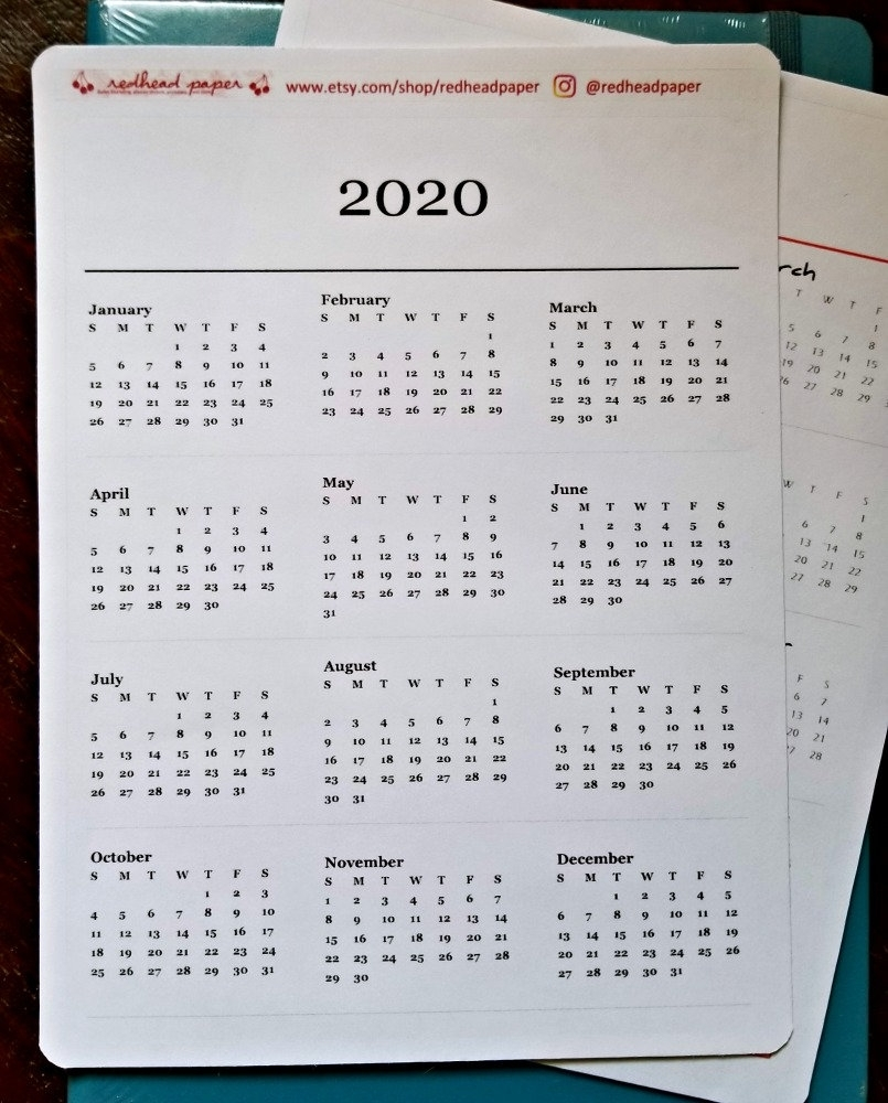 2020 Year-On-A-Page Sticker For Bullet Journal | Etsy regarding 2020 Bullet Journals