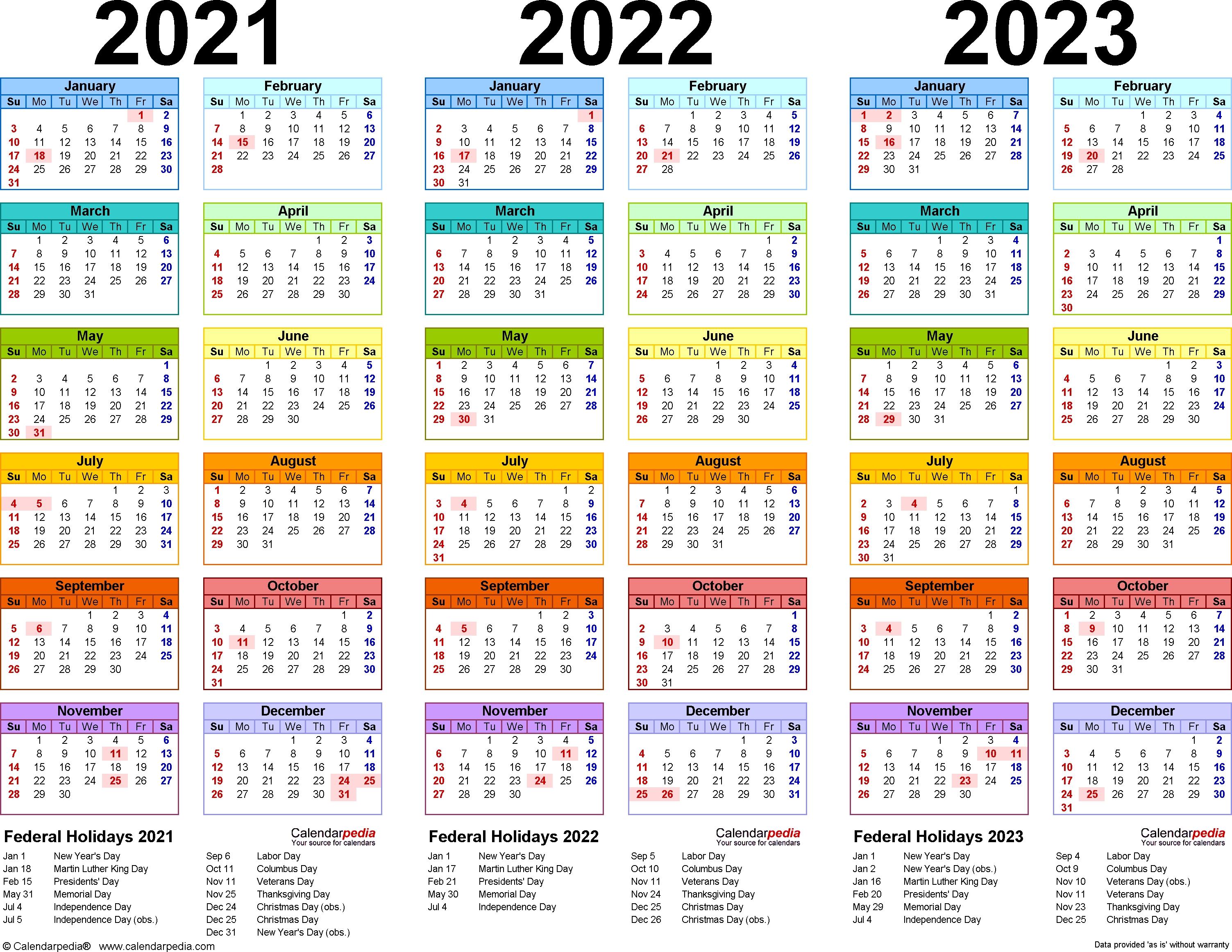 2021/2022/2023 Calendar - 4 Three-Year Printable Pdf Calendars in Print 2019, 2020, 2021, 2022, 2023, Calender