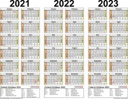 2021/2022/2023 Calendar - 4 Three-Year Printable Pdf Calendars intended for Print 2019, 2020, 2021, 2022, 2023, Calender