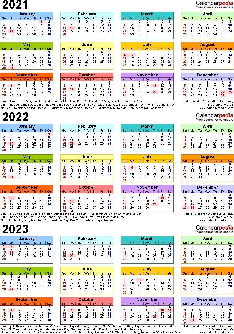 2021/2022/2023 Calendar - 4 Three-Year Printable Pdf Calendars with regard to Print 2019, 2020, 2021, 2022, 2023, Calender