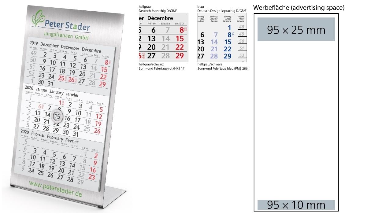 3-Month Calendar 2020 Desktop 3 Steel 1-Year   3-Month Planner With in Embedded Calendar 2020