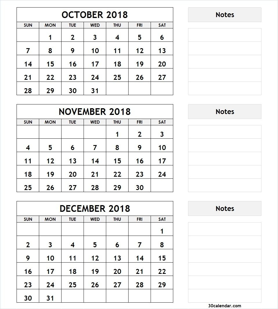 3 Month Calendar October November December 2018 | 2018 Calendar regarding 3 Month Calendar Printable With Notes September October November