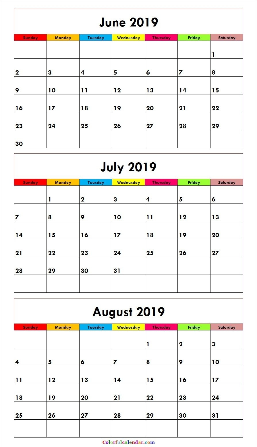 3 Month June July August 2019 Calendar Green | Misc. Stuff | August intended for 3 Month Calendars To Print