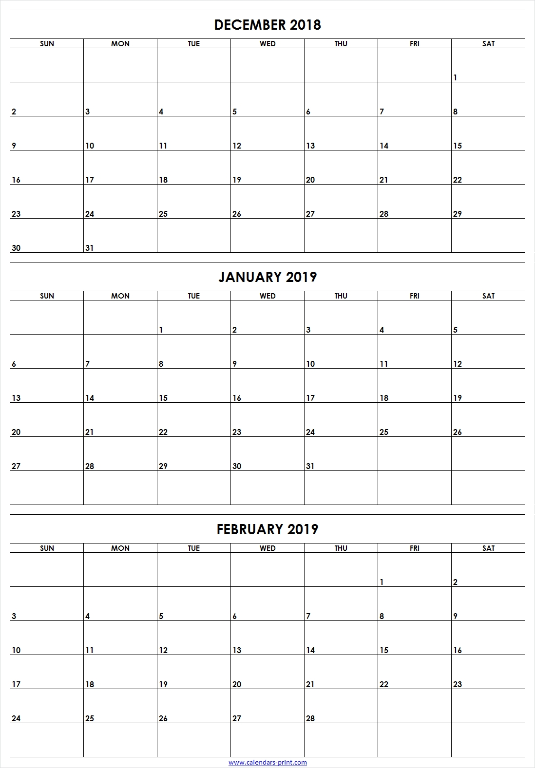 3 Monthly December 2018 January February 2019 Calendar | Editable throughout 3 Month Calendars To Print