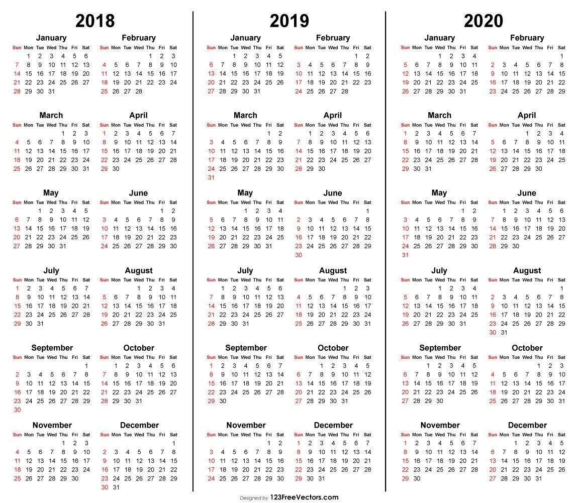 3 Year Calendar 2018 2019 2020 Printable | 2019 Calendar | Free inside 2020 Printable Liturgical Calendar Free