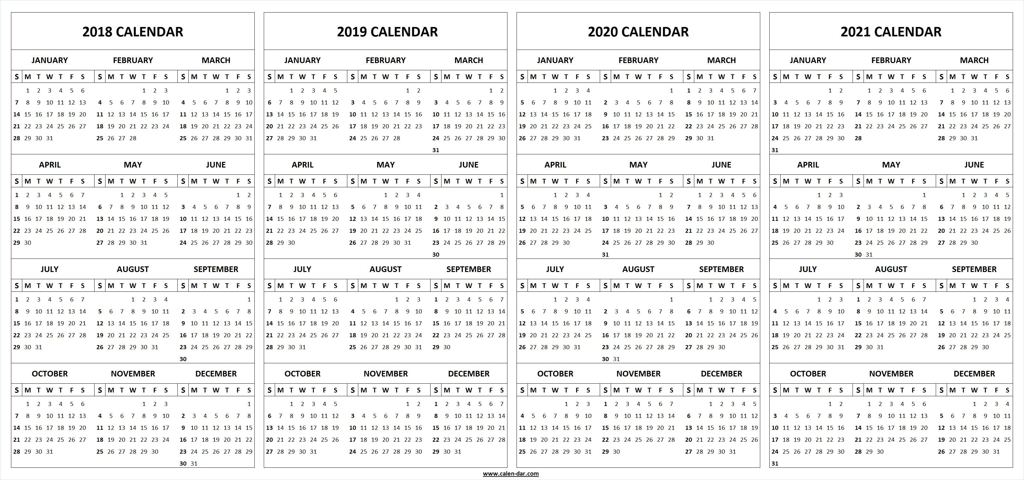 4 Four Year 2018 2019 2020 2021 Calendar Printable Template pertaining to Yearly Calendar 2019 2020 2021