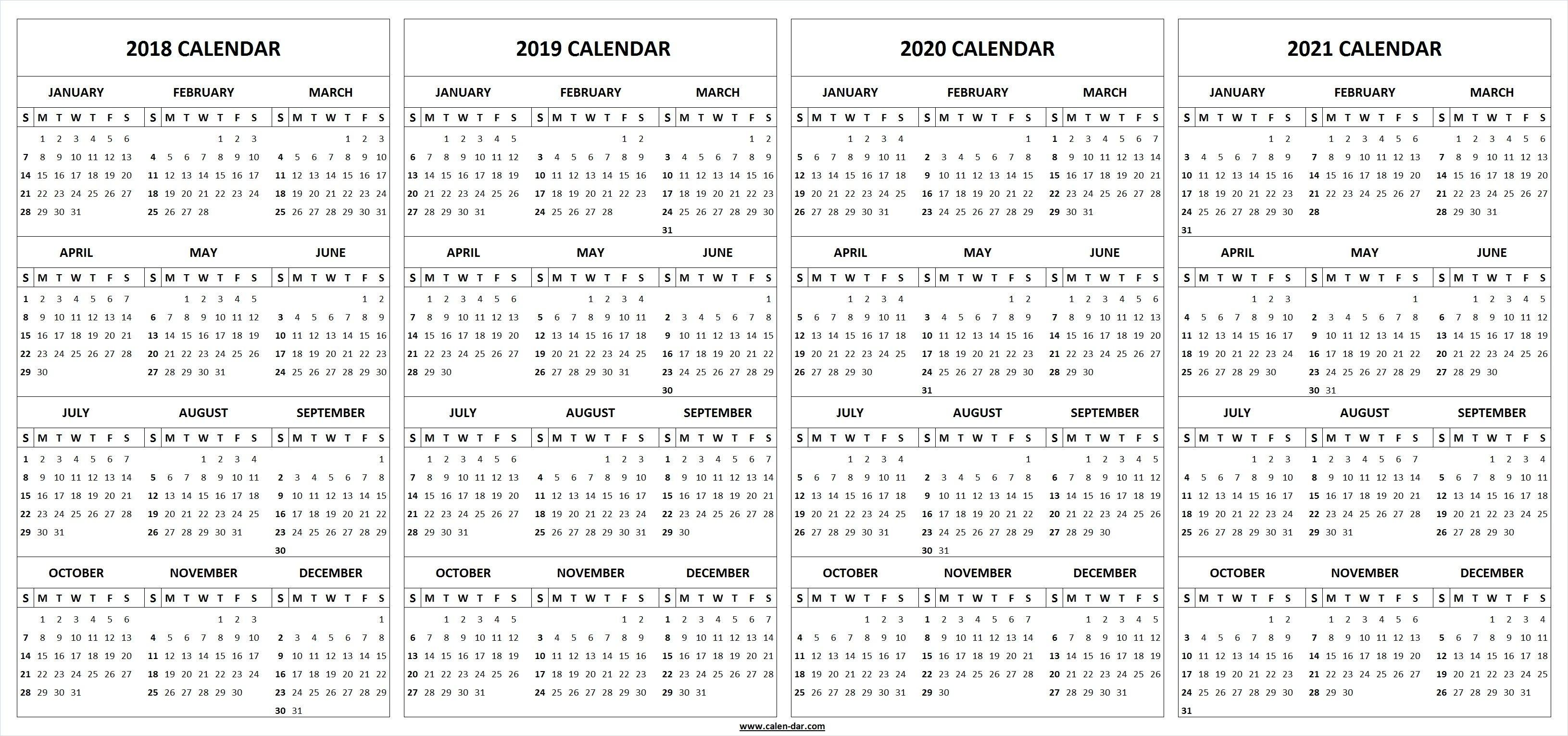 4 Four Year 2018 2019 2020 2021 Calendar Printable Template with Calendar 2019 2020 2021