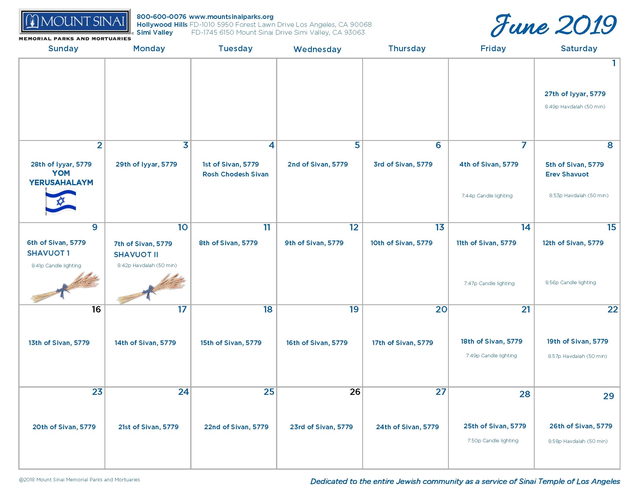 5779 Hebrew Calendar - Mount Sinai Memorial Parks And Mortuaries pertaining to Hebrew Calendar 2019-2020