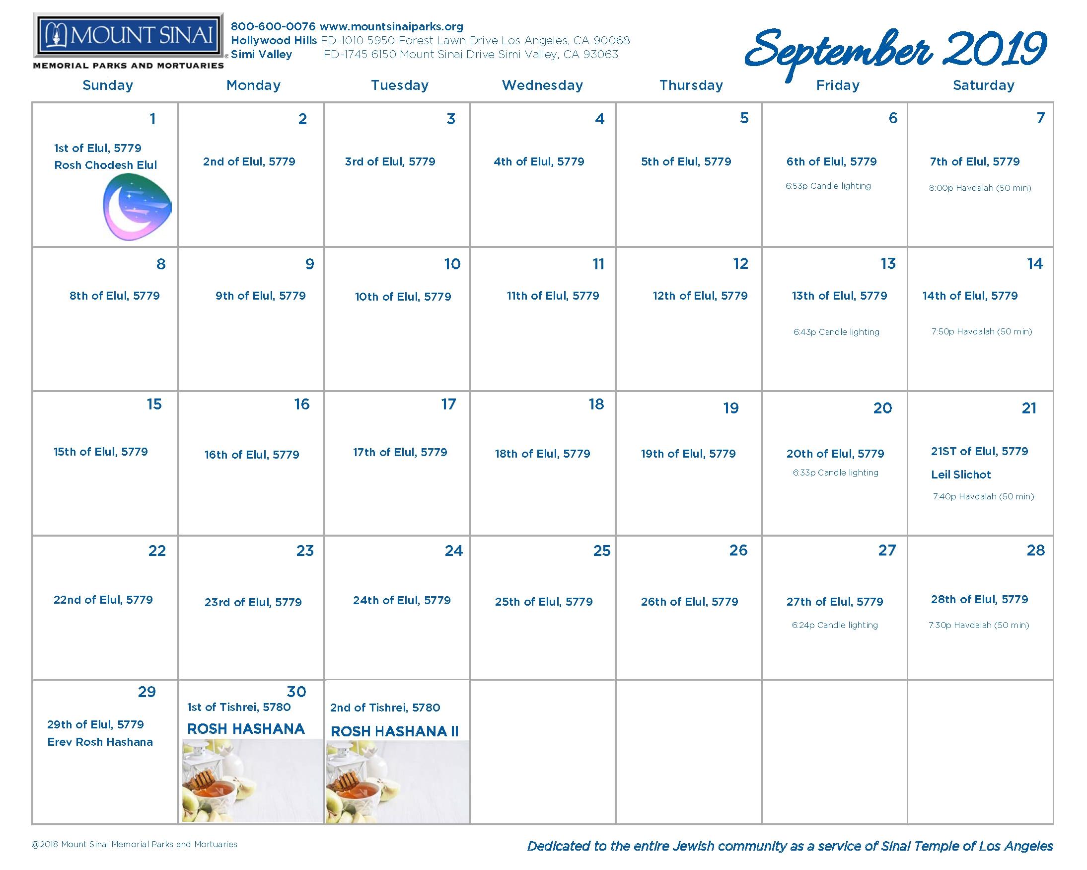 5779 Hebrew Calendar - Mount Sinai Memorial Parks And Mortuaries regarding Hebrew Calendar 2019-2020