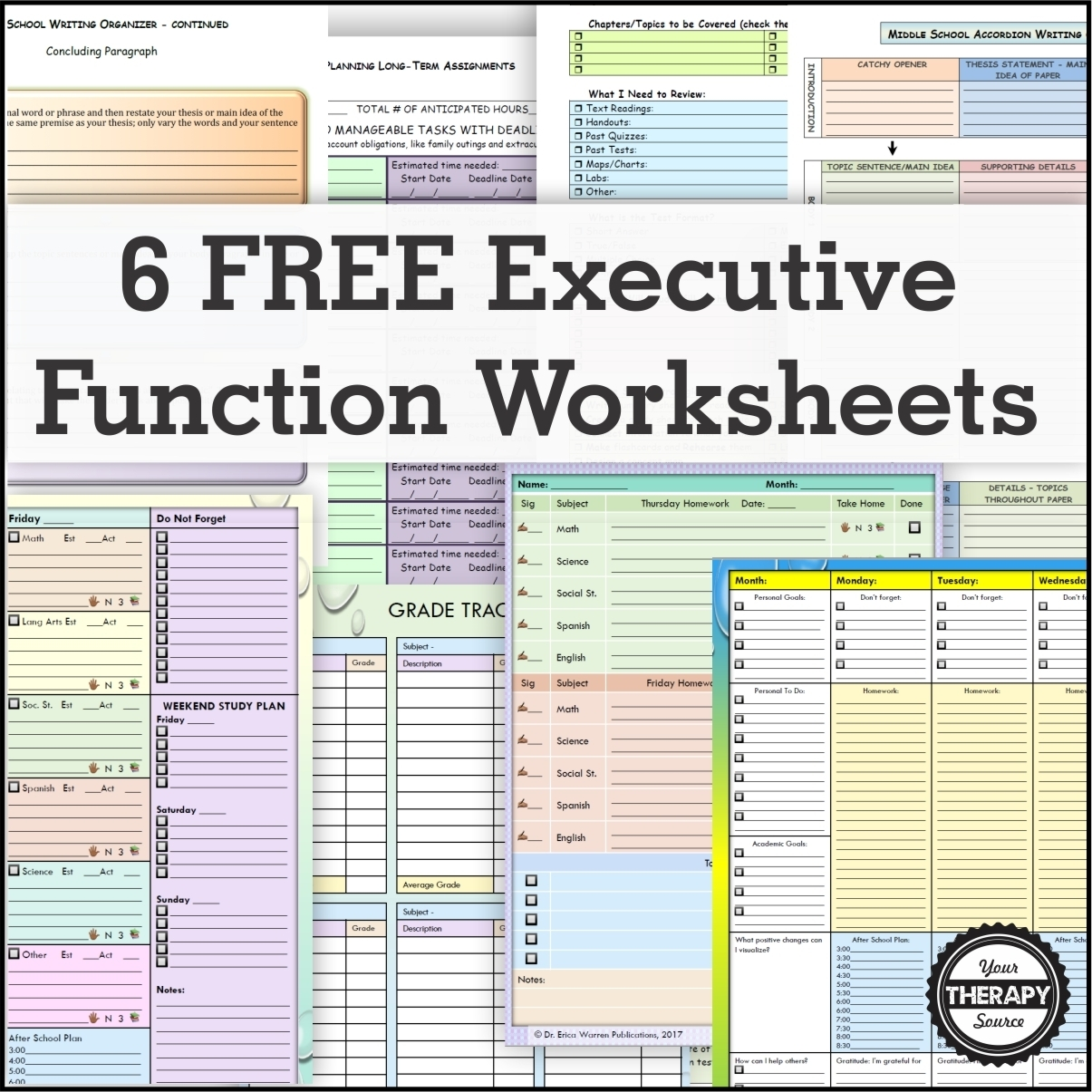 6 Free Executive Functioning Activity Worksheets - Your Therapy Source regarding Homework Agenda Template 7Th Grade