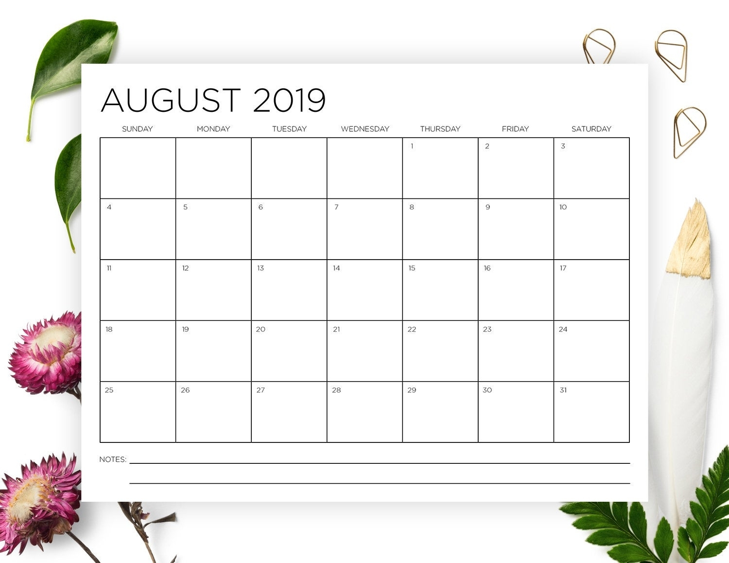 8.5 X 11 Inch 2019-2020 Calendar Template Instant Download | Etsy throughout 2020 Calendar 8.5 X 11