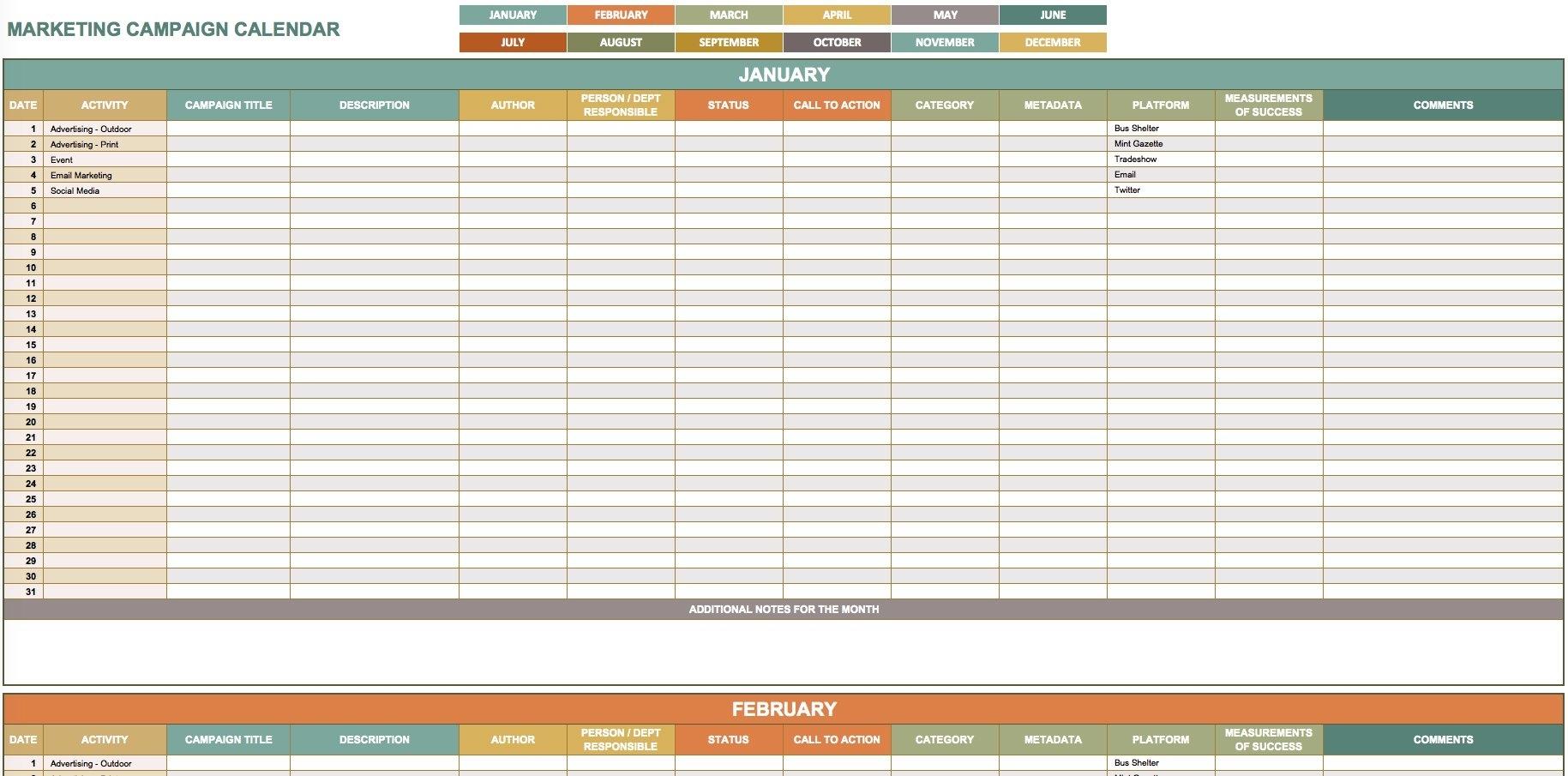 9 Free Marketing Calendar Templates For Excel - Smartsheet for Schedule Of Activities Calendar Format