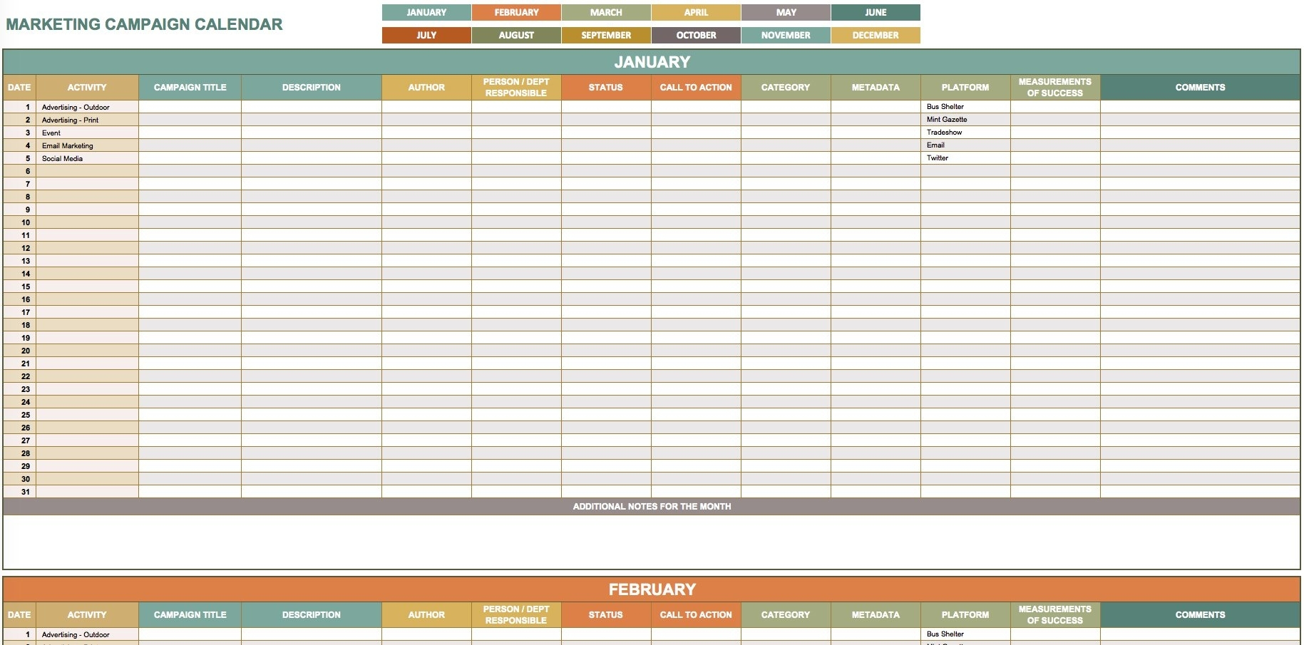 9 Free Marketing Calendar Templates For Excel - Smartsheet inside Samples Of Monthly Activity Calendar Templates And Designs