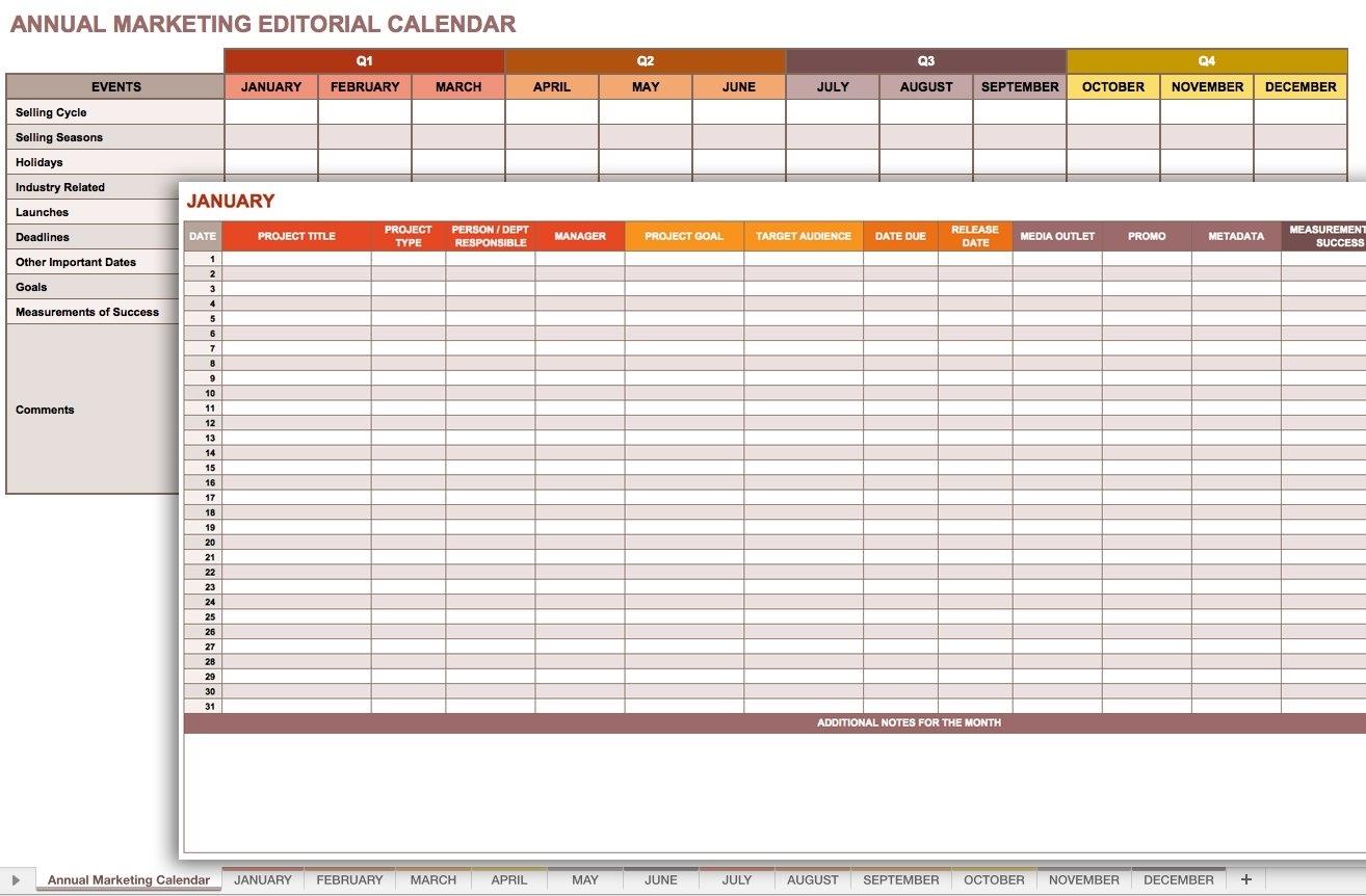 9 Free Marketing Calendar Templates For Excel - Smartsheet within Schedule Of Activities Calendar Format