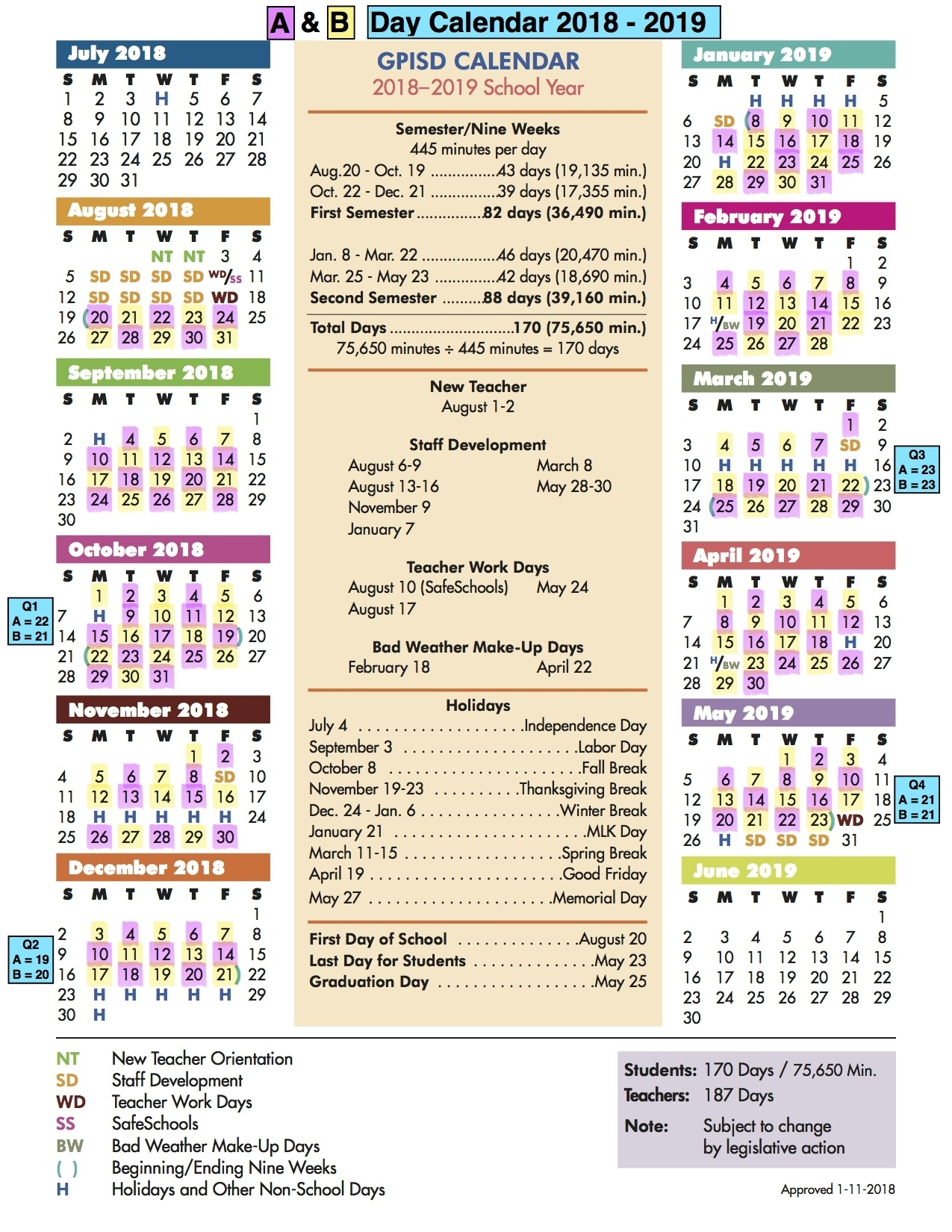 A/b Calendar / A/b Day Calendar within Sfasu School Schedule 2019 2020