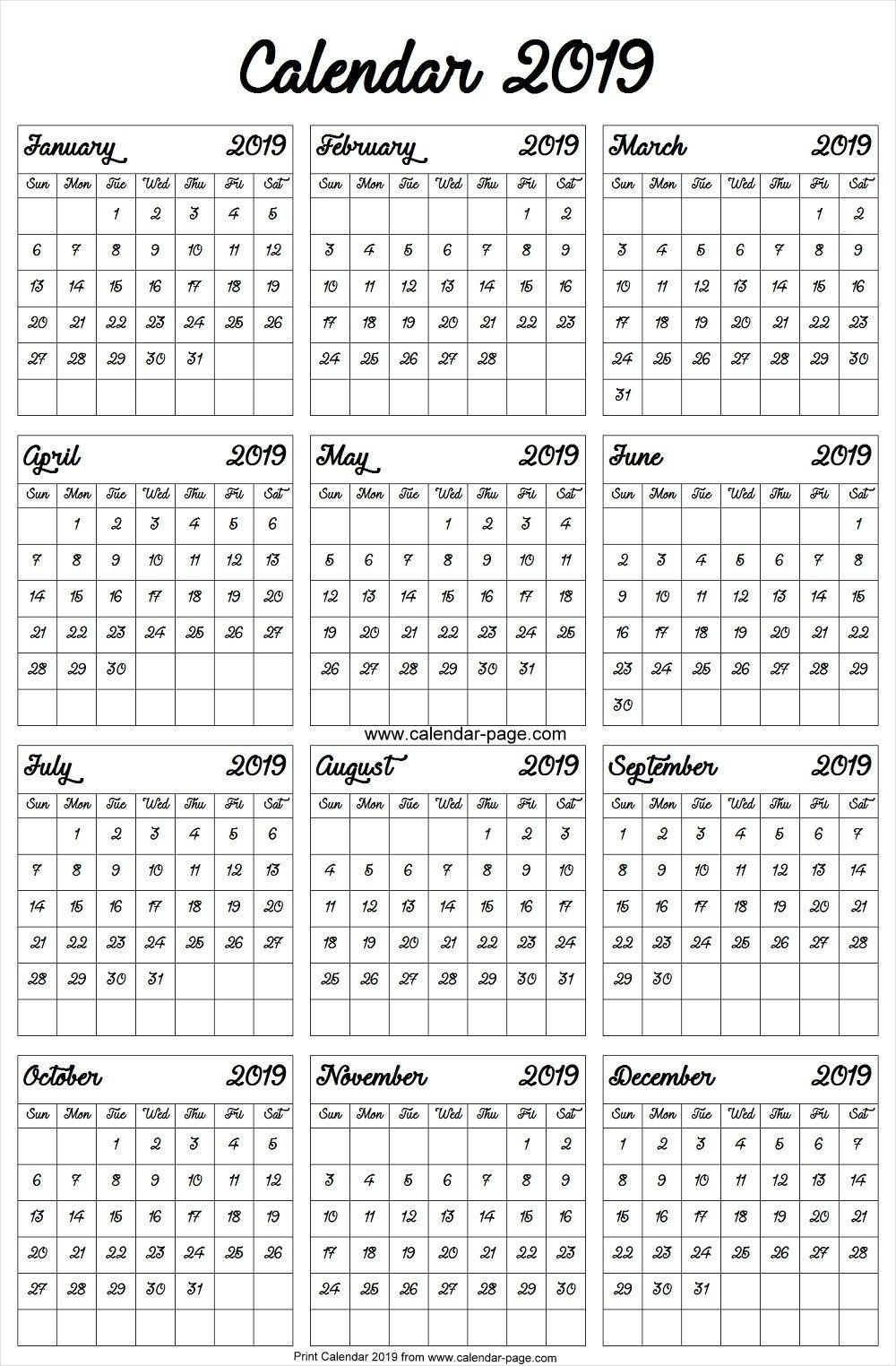 A4 2019 Year Calendar | 2019 Calendar Template | Blank Calendar for A4 Yearly Calendars For 2019 And 2020