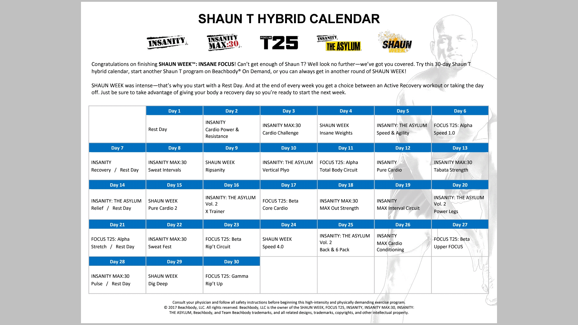 About To Finish Shaun Week. Going To Follow The Hybrid Calendar with Shaun T Hip Hop Abs Schedule