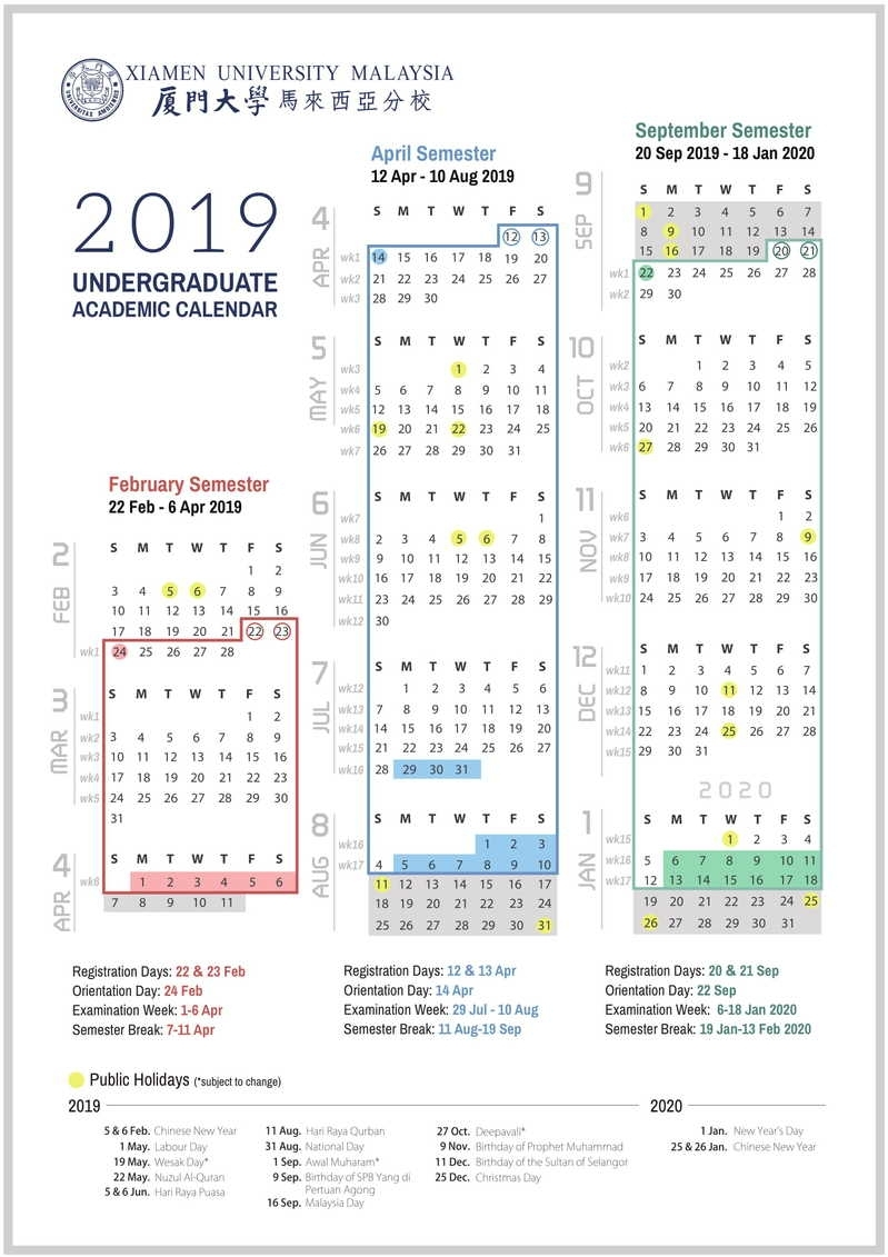 Academic Calendar & Courses throughout U Of M Calander 2019-2020