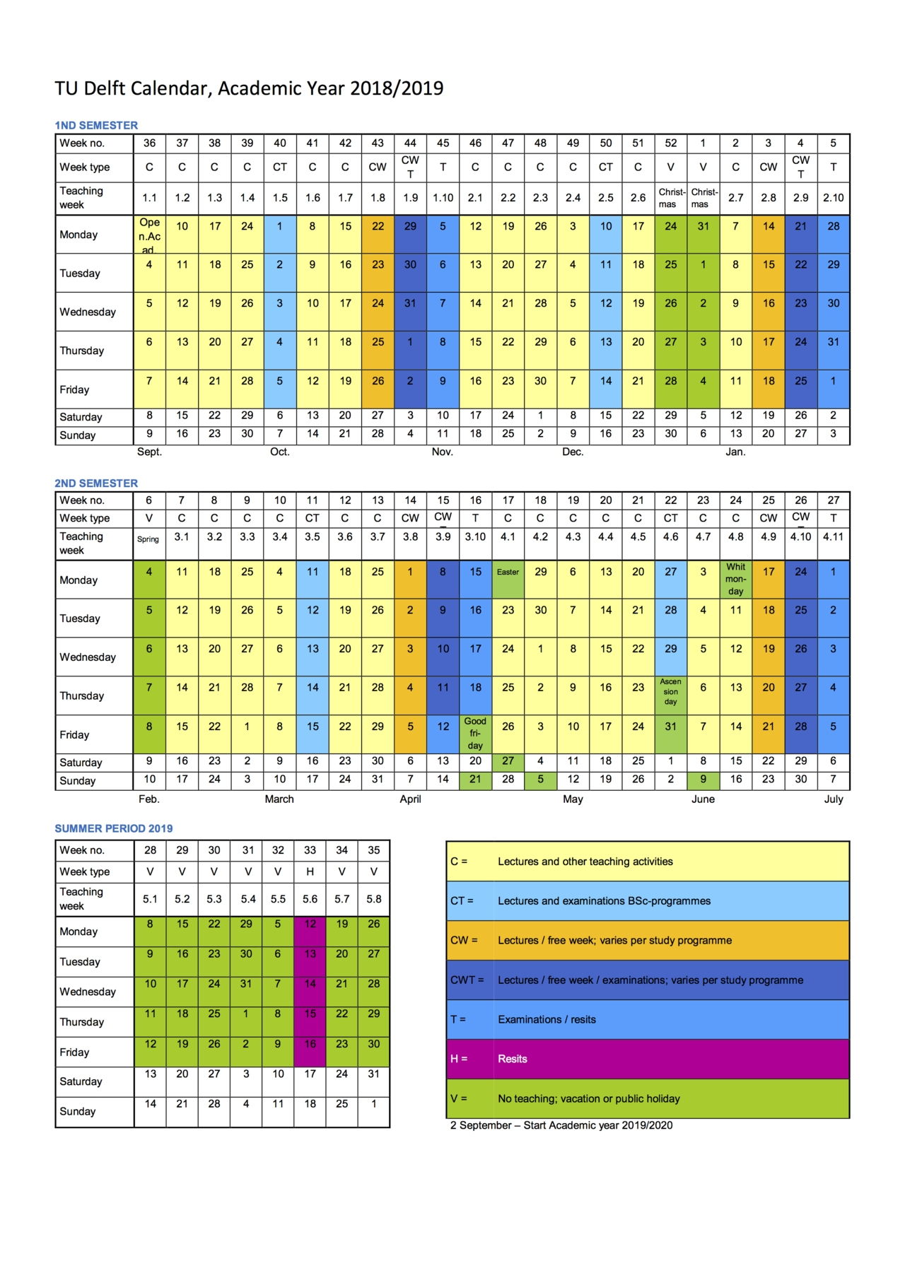 Academic Calendar intended for One Page 2 Years Calendar 2019 2020 With Week Number