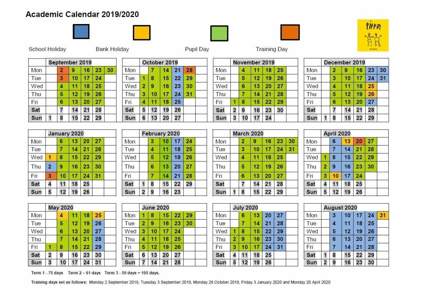 Academic Calendar - Pippin Pre-School intended for Special Days Calendar 2019-2020