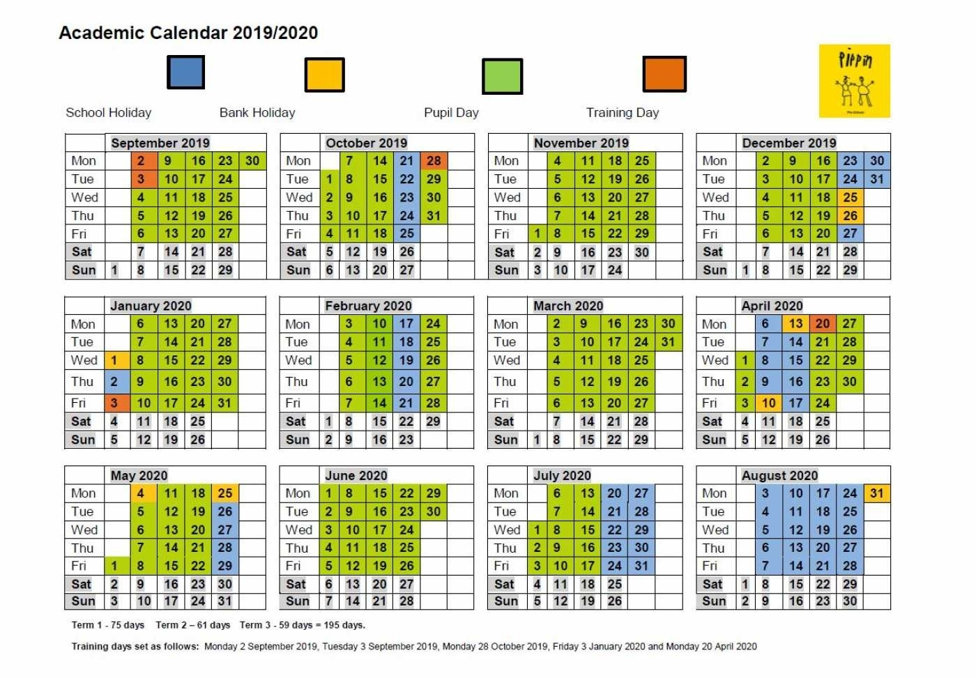Academic Calendar - Pippin Pre-School pertaining to Calendar With All The Special Days In 2020