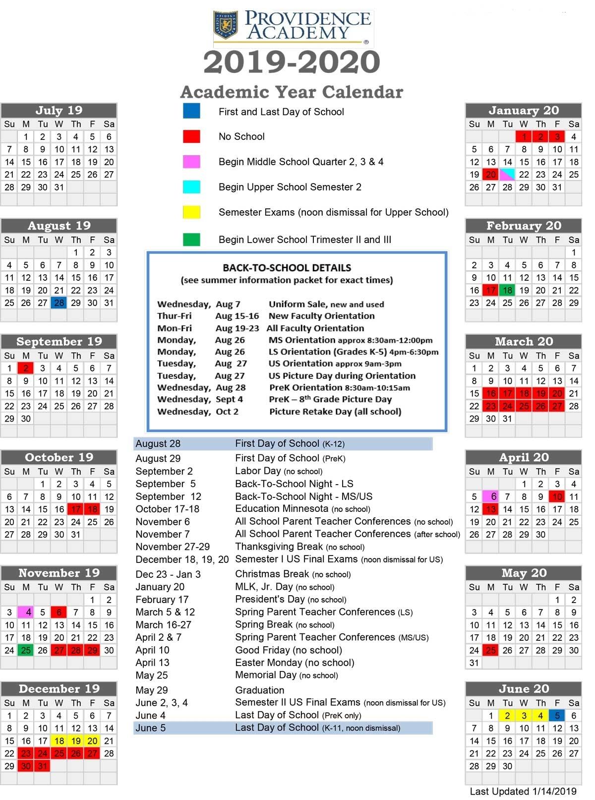 Academic Calendar - Providence Academy regarding U Of M Calander 2019-2020