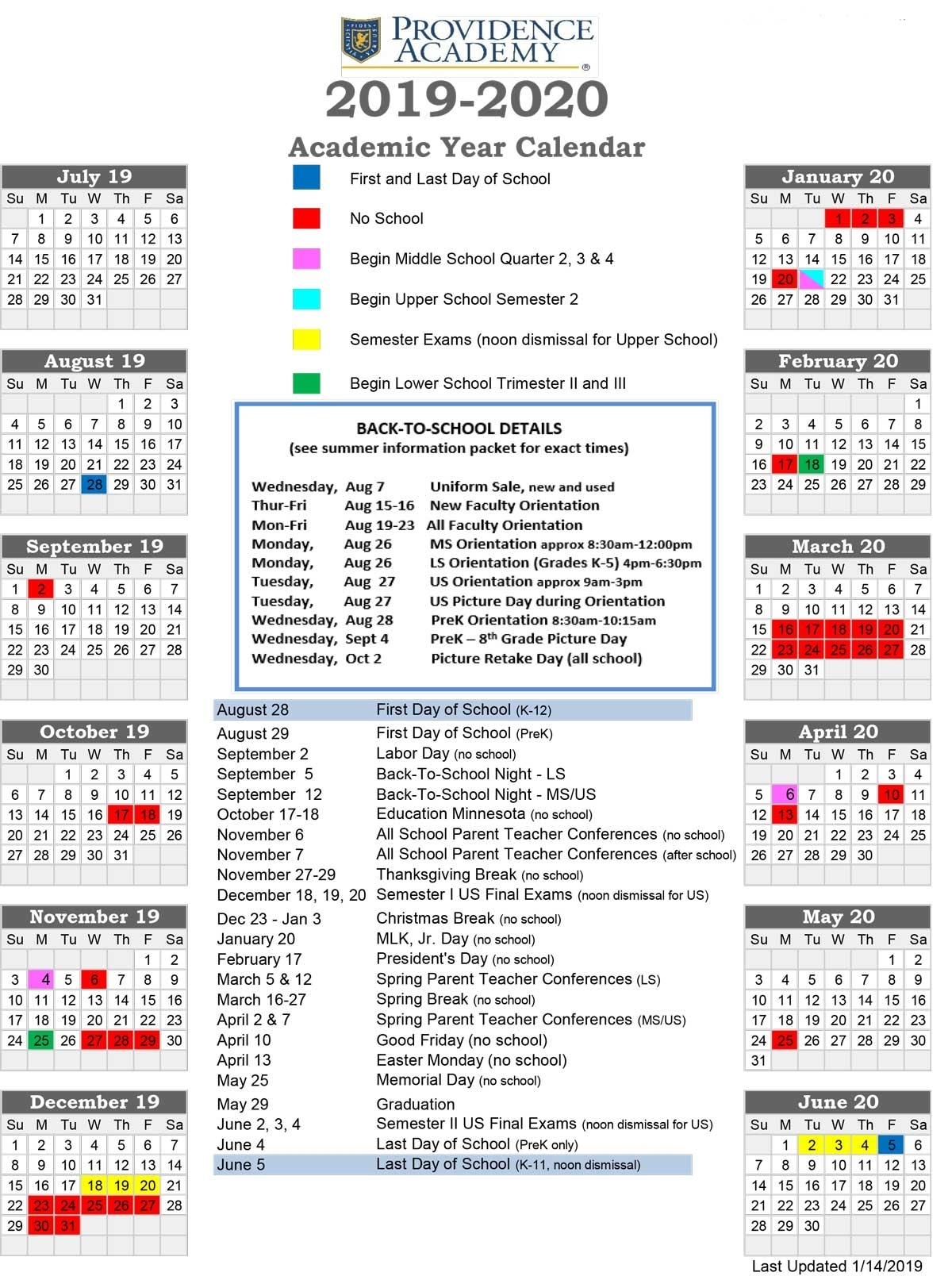 Academic Calendar - Providence Academy within U Of M School Year 2019-2020