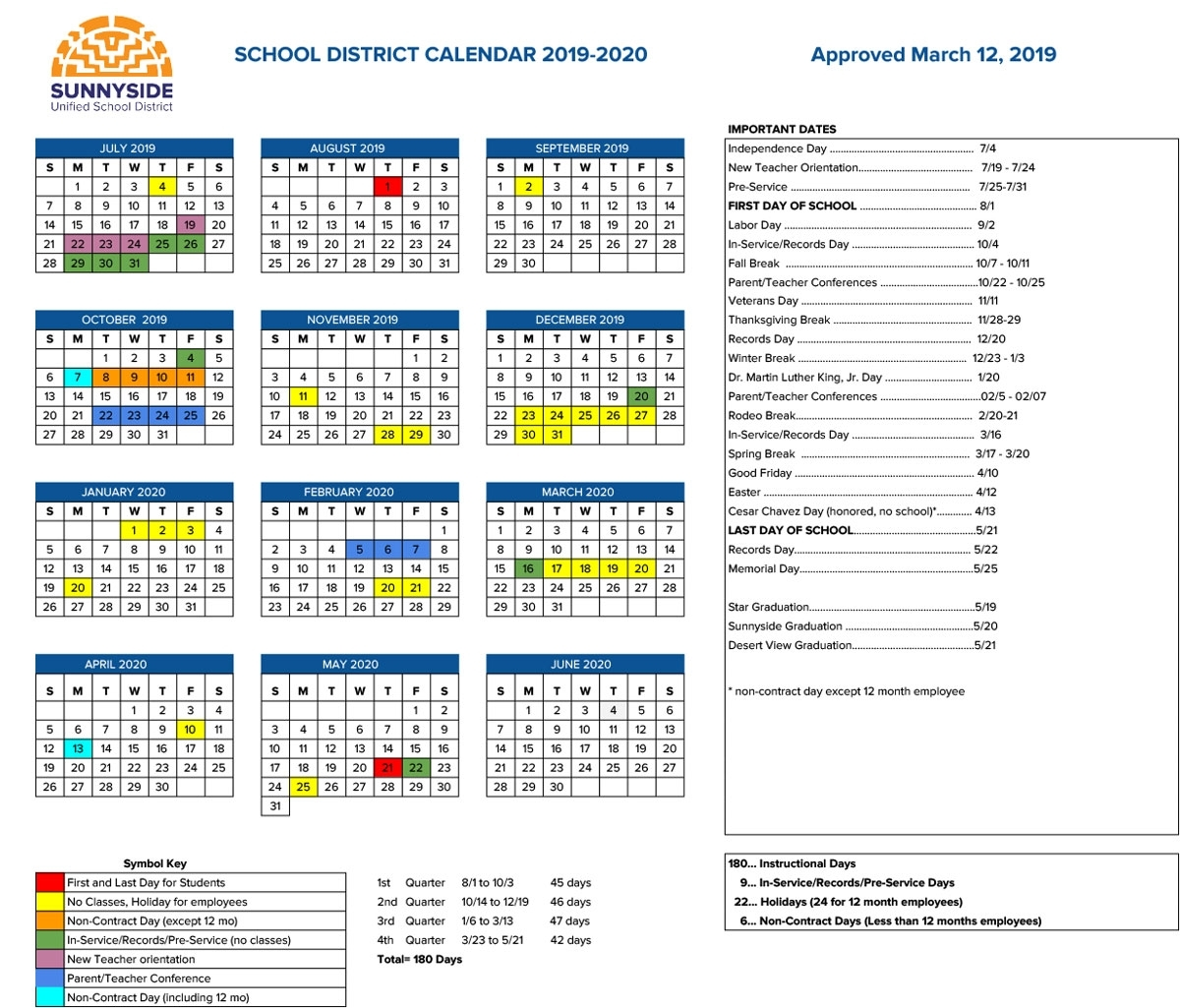 Academic Calendar   Sunnyside Unified School District intended for Special Days In The School Year 2019-2020