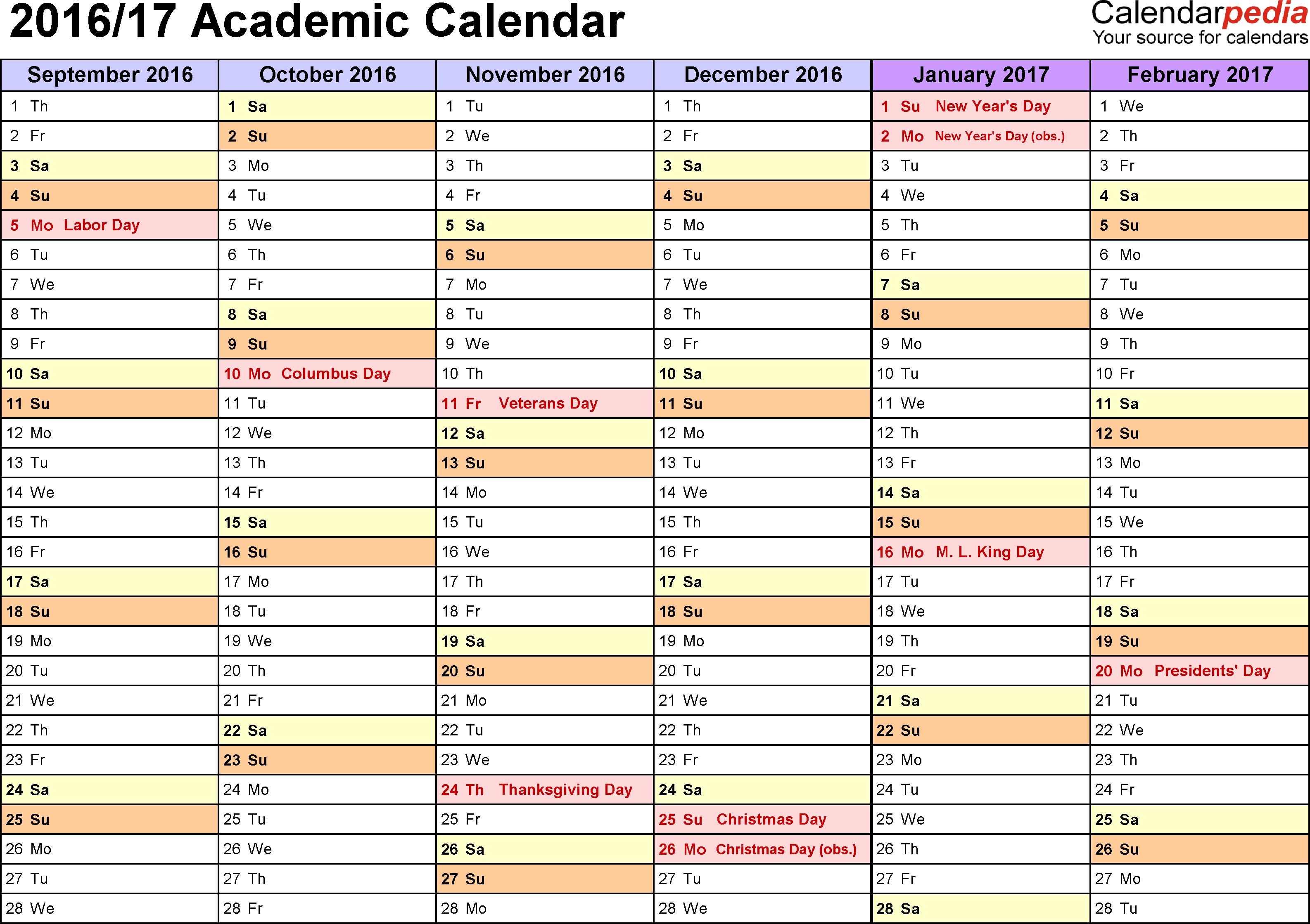 Academic Calendars 2016/2017 - Free Printable Word Templates pertaining to Template Academic Calendar With Notes