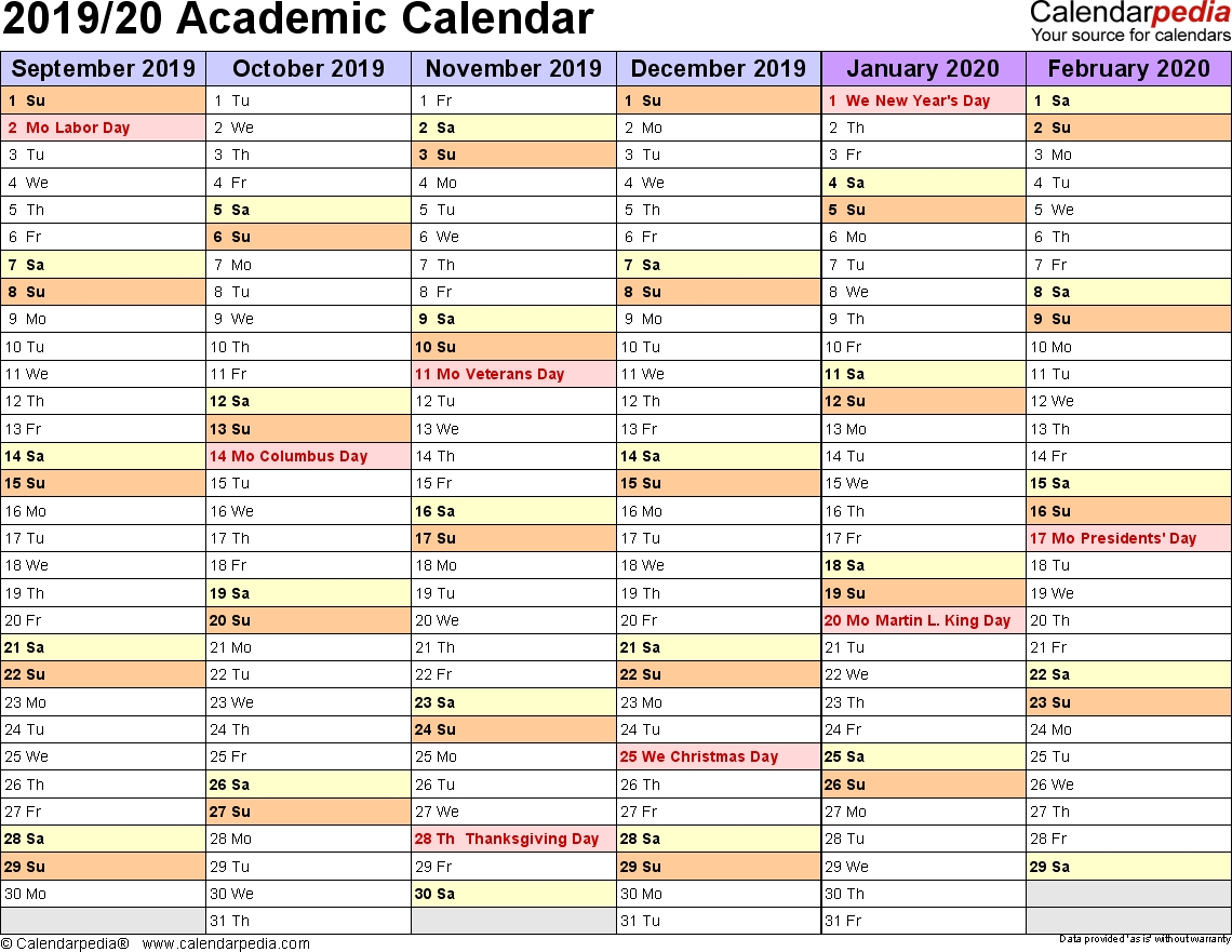 Academic Calendars 2019/2020 - Free Printable Excel Templates within Free School Year At A Glance 2019-2020