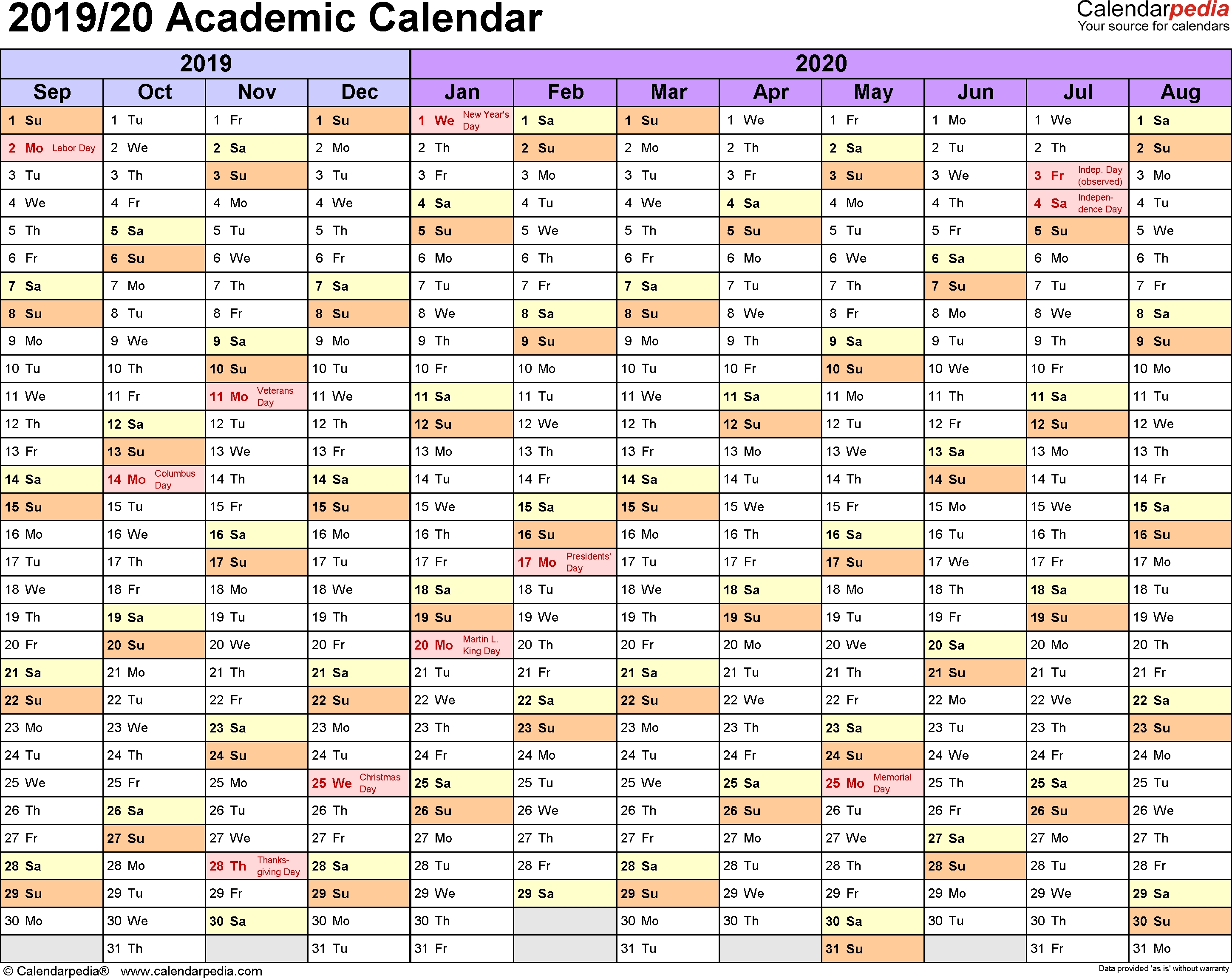 Academic Calendars 2019/2020 - Free Printable Pdf Templates with regard to A4 Yearly Calendars For 2019 And 2020