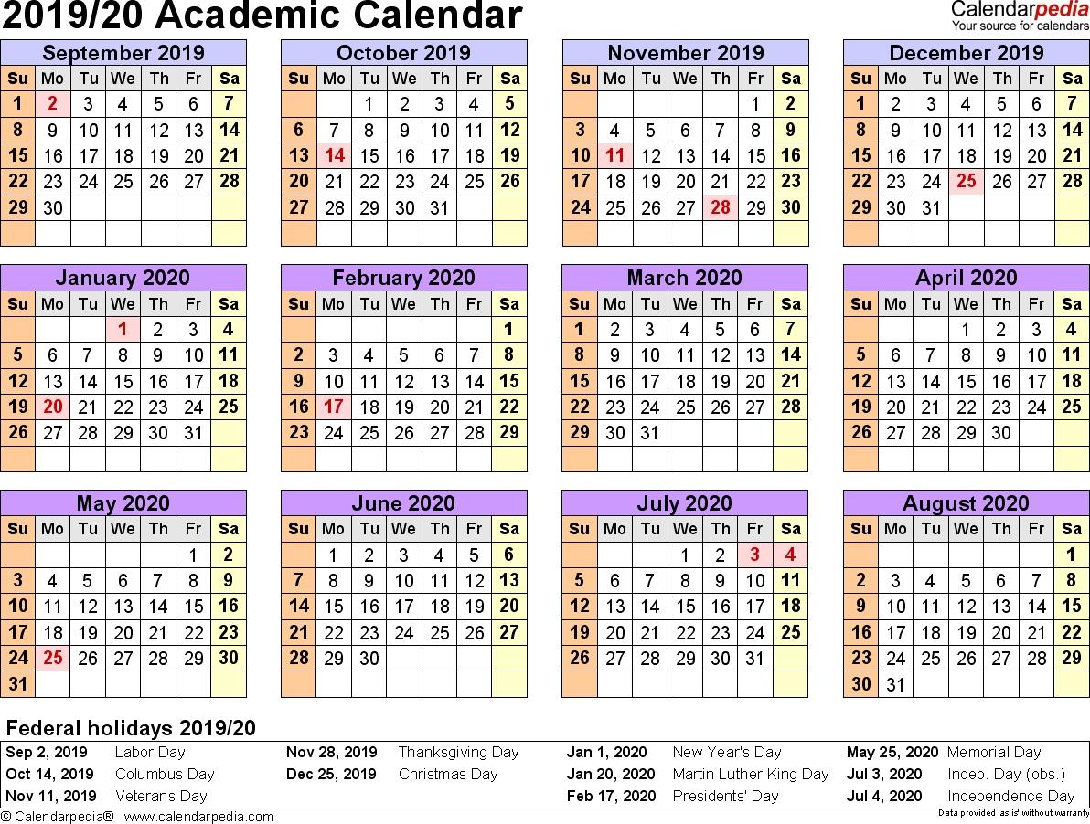 Academic Calendars 2019/2020 - Free Printable Word Templates for Free Editable Calander 2019-2020 Start On Sunday