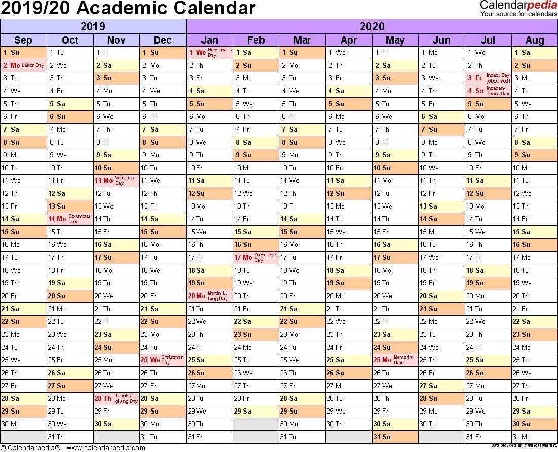 Academic Calendars 2019/2020 - Free Printable Word Templates inside Printable Customizable Calander 2019-2020