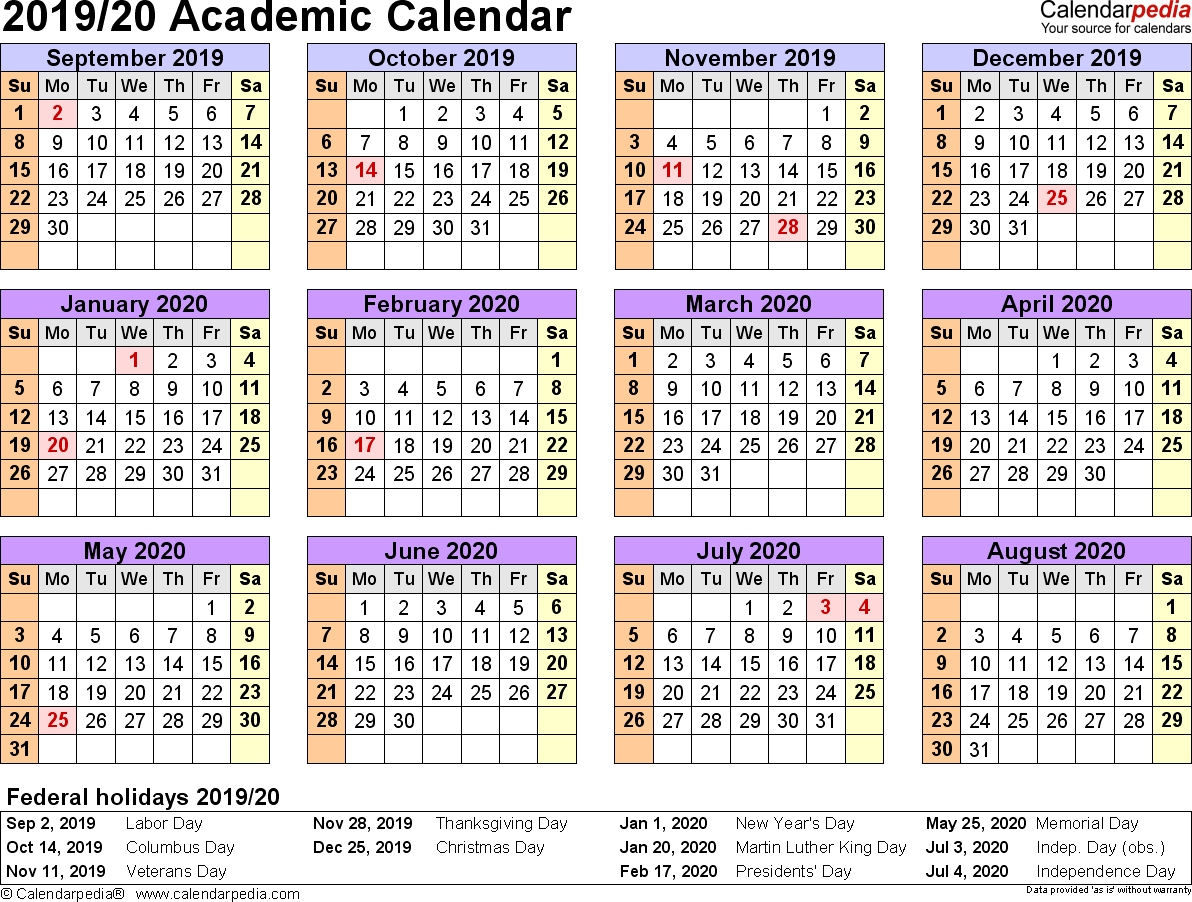 Academic Calendars 2019/2020 - Free Printable Word Templates intended for Calender September 2019 To August 2020