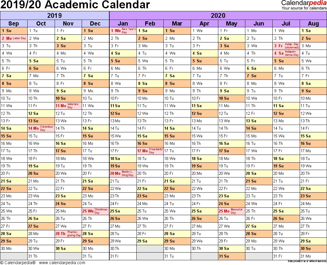 Academic Calendars 2019/2020 - Free Printable Word Templates with 2019 And 2020 Calendar Template Fill In