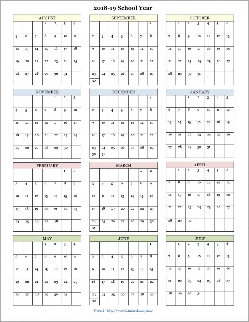 Academic Calendars For 2018-19 School Year (Free Printable regarding Year At A Glance 2019-2020 School Calendar