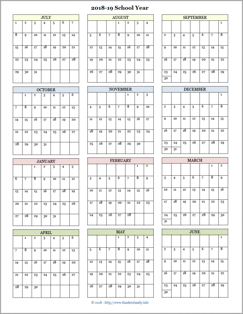 Academic Calendars For 2018-19 School Year (Free Printable within Free School Year At A Glance 2019-2020