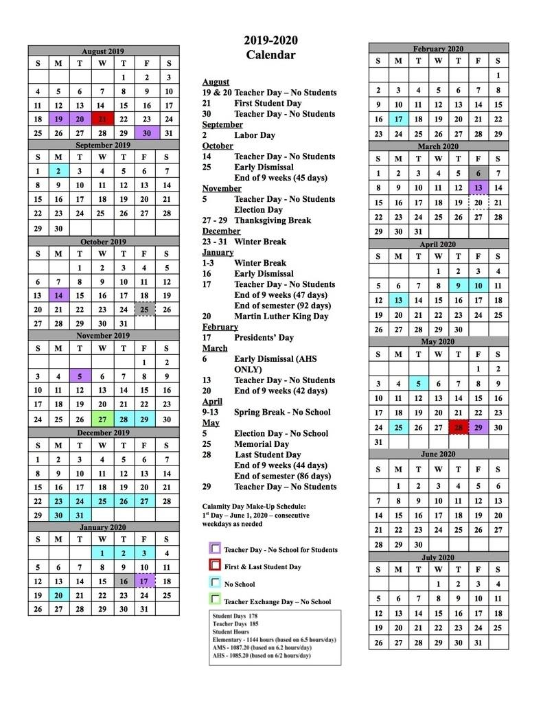 Alliance City School District regarding Stephen F Austin 2019 2020 Calendar