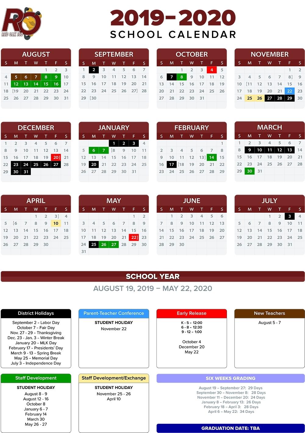 Annual School Calendar / Annual Calendar with Special Days Calendar 2019-2020