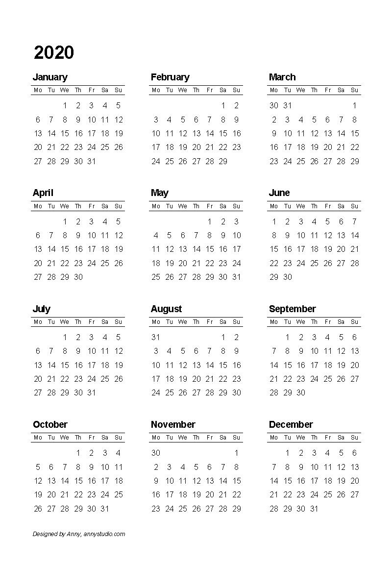 Anny Studio throughout Free Color Printable 2019 2020 Calendar